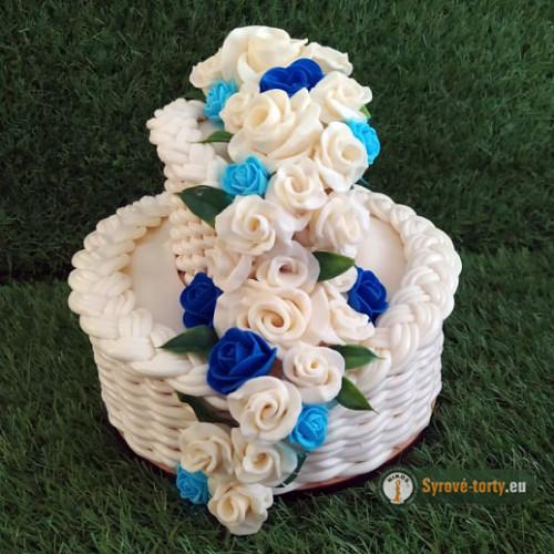 Exkluzivní sýrový dort na dřevěném podnosu: dvoupatrový - modrý