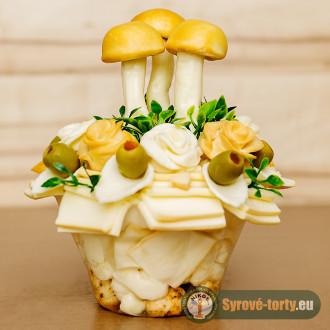Sýrová kytka s houbama