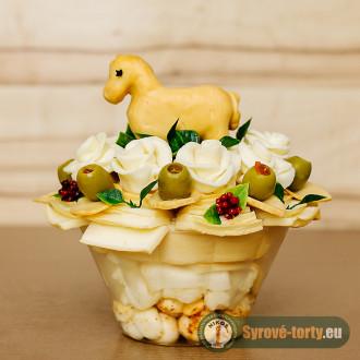 Sýrová kytka s koníkem