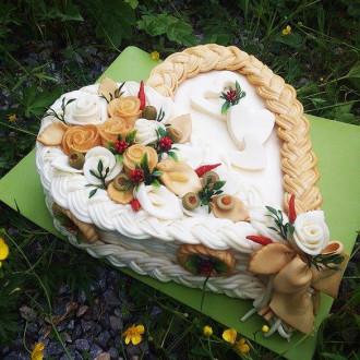 Sýrový dort velké srdce (uzeno-neuzená)