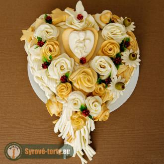 Sýrový dort srdce s andílkem 2 kg